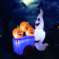 6 Foot Tall Halloween Inflatables Ghost With Pumpkin Cart