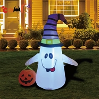 Inflatable Halloween ghostbusters holding pumpkin basket