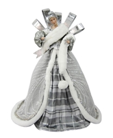 "December Diamonds 20"" Angel w/Plaid and Fur Tree Topper Figurine"