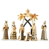 Jim Shore Heartwood Creek Black & Gold Nativity 7pc Figurine  Set