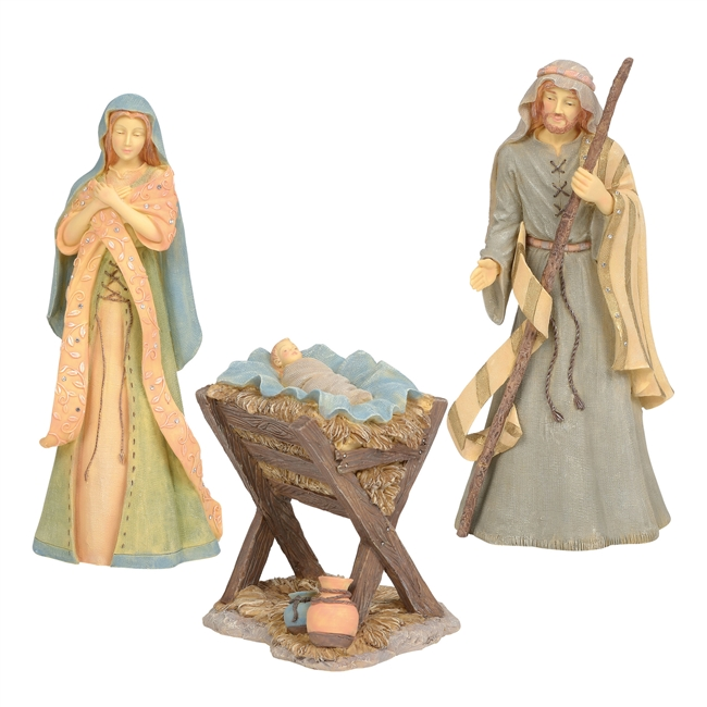 Jim Shore Heartwood Creek Holy Family Nativity, Set of 3 Statue Figurine