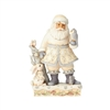 Jim Shore Heartwood Creek White Woodland Santa with Owl Statue Figurine