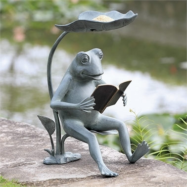 Reading Frog Birdfeeder with LED Light Garden and Lawn Decorations
