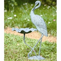 Crane Birdbath Garden and Lawn Decorations