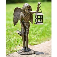 Angel Girl Garden Lantern Lawn And Garden Statue