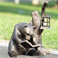 Booklover Bear Garden Lantern Lawn and Garden Decorations