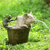 Bathtime Garden Spitter (Cat and Pig)  Lawn and Garden Decorations