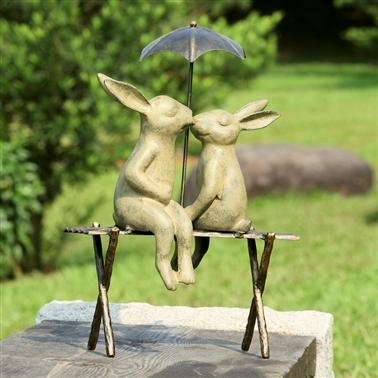 Bunny Lovers on Bench Lawn and Yard Decorations