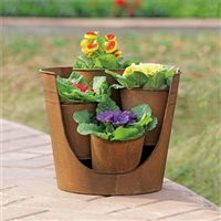 "Rustic Cutaway Planter for 4""D Pots Lawn and Garden Decorations"