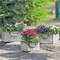 Rustic Rectangular Planters with Handles, Set of 3 Lawn and Garden Decorations