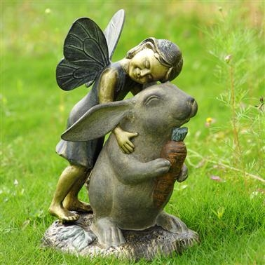 Happiness Garden Sculpture - Fairy and Rabbit Sculpture Lawn and Garden Decorations