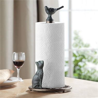 Cat and Bird Paper Towel Holder Towel Holder Kitchen Decorations