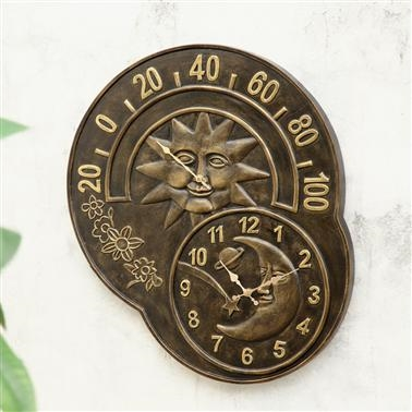 Sun and Moon Clock and Thermometer home decorations