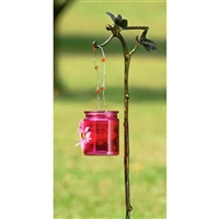 Butterfly Garden Stake with Pink Glass