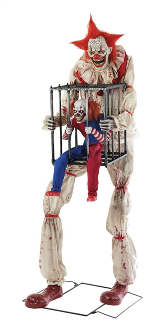Animated Cagey the Clown Halloween Prop with caged Kid Trick or Treat 2019