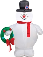 Airblown Frosty Holding Wreath Christmas Lawn Decoration