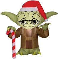 Airblown Yoda With Santa Hat Christmas Lawn Decoration Get It Now