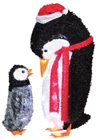Fuzzy Plush Mommy And Baby Penguins Christmas Decorations