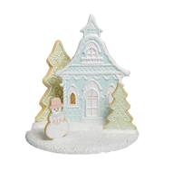 December Diamonds Blue Cookie House w/T-Light Holder  Santa's Cookie Factory at boodee.net