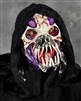 Unleashed Wickedness Fanged Mask with attached Silver Lined hood Lifelike Halloween Mask