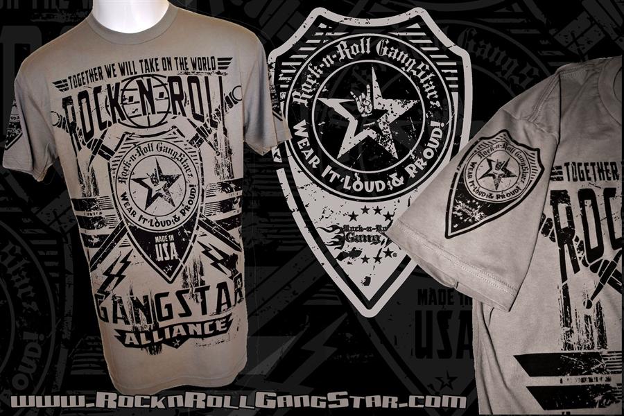 Rock N Roll Gangstar Alliance V2 Mens T Shirt Gray Rock N