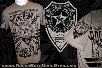 Rock-n-Roll GangStar Alliance V2 Mens T Shirt Gray Rock n Roll Heavy Metal Clothing Apparel Accessories Music Lifestyle