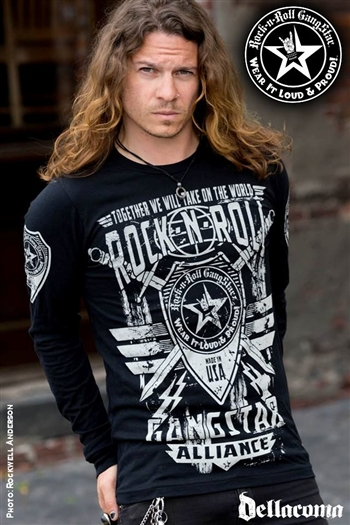 Rock-n-Roll GangStar Alliance V2 Mens Long Sleeve Rock Heavy Metal T Shirt