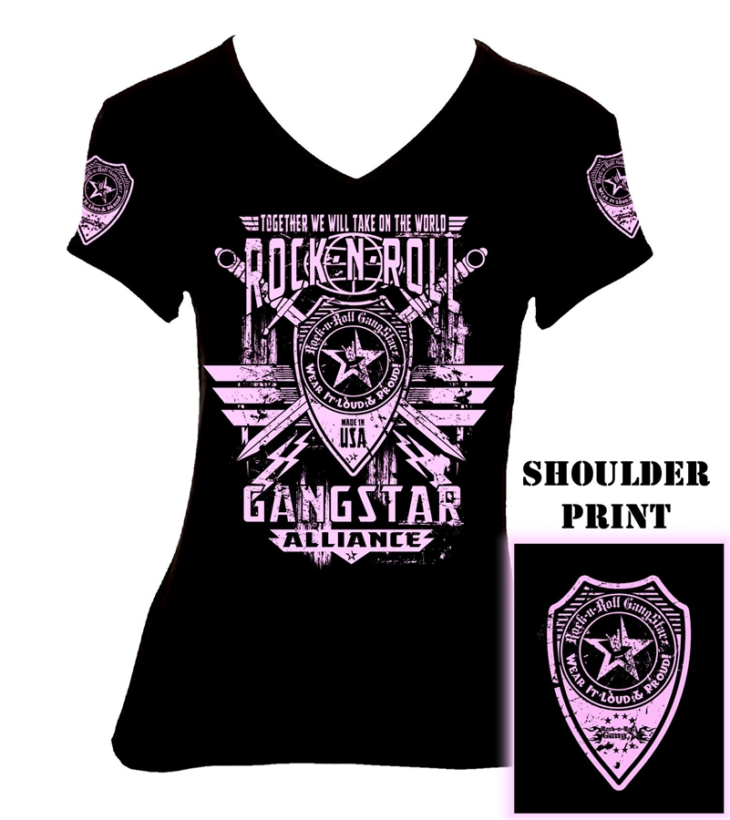 Rock n roll gangstar alliance v2 girls jr t shirt for Rock and roll shirt shop