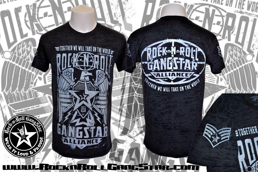 Alliance Mens Black Burnout T Shirt Rock n Roll Heavy Metal
