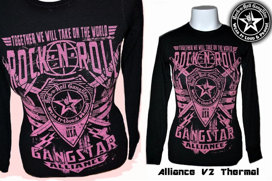 Alliance V2 Girls Thermal Long Sleeve Shirt Winter Wear Rock N Roll