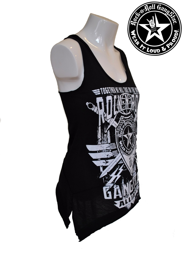 80e72d78319ee Alliance V2 Shark Bite Raw Edge Tank Top Black Rock n Roll Heavy Metal  Biker t shirt