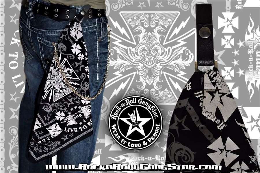 Custom Belt Loop Snap Biker Cross Bandana Rock n Roll ...