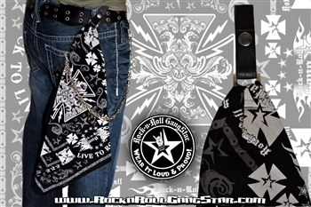 Custom Belt Loop Snap Biker Cross Bandana Rock n Roll Heavy Metal clothing accessories Rock n Roll GangStar