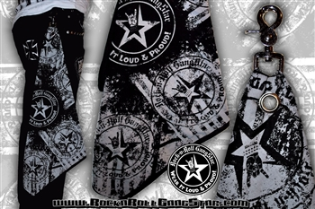 Wear It Loud & Proud! Custom Belt Loop Flair Bandana Gray on Black Rock and Roll Heavy Metal Biker accessories lifestyle Rock n Roll GangStar
