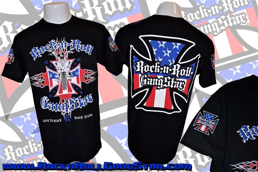bfeec851aff Biker Cross V2 Red White and Blue Mens T Shirt Black Rock n Roll ...