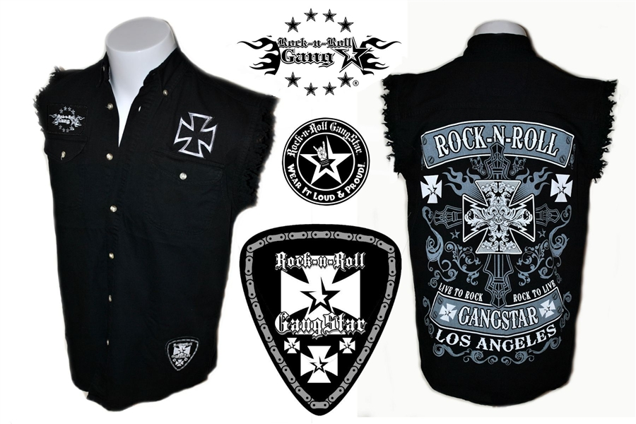 82301a96e01 Biker Cross denim cut off sleeveless shirt Rock n Roll Heavy Metal ...