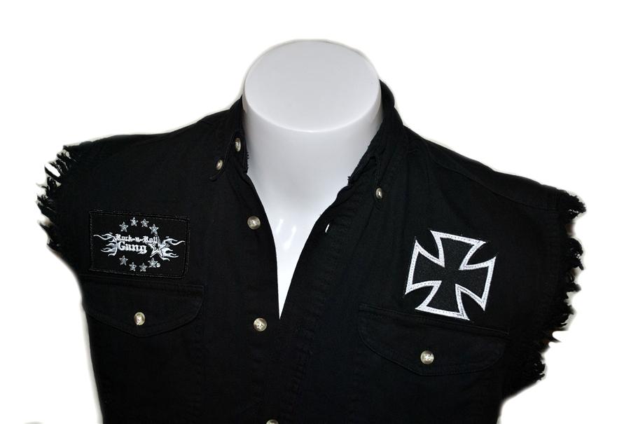 dcbf081bfa67 Biker Cross denim cut off sleeveless shirt Rock n Roll Heavy Metal clothing shirt  Rock n Roll GangStar
