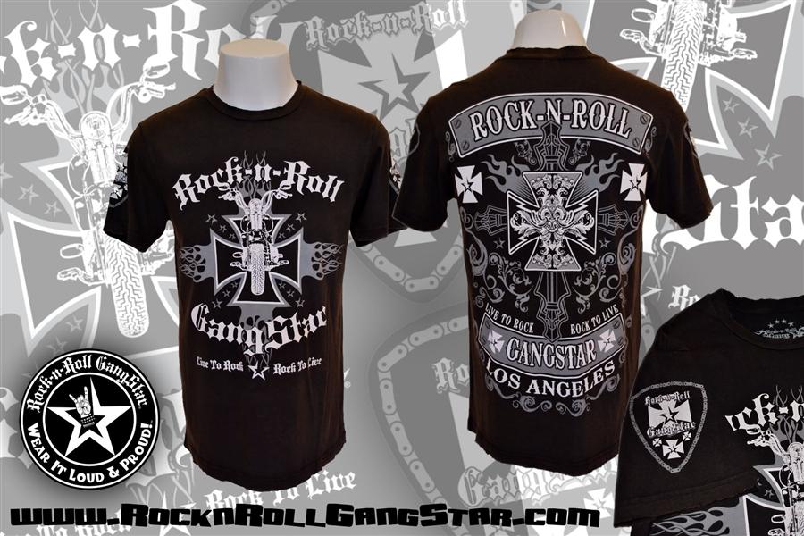 84ac9aea86d Biker Cross V2 Mens Black Super Vintage Wash T Shirt Rock n Roll ...