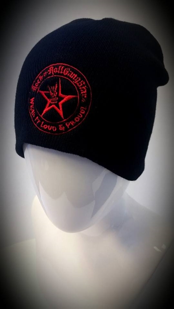 Stretch Beanie Black with Red Wear It Loud & Proud! logo Stocking Cap Winter Hat Rock and Roll Heavy Metal Biker clothing apparel accessories lifestyle Rock n Roll GangStar Apparel