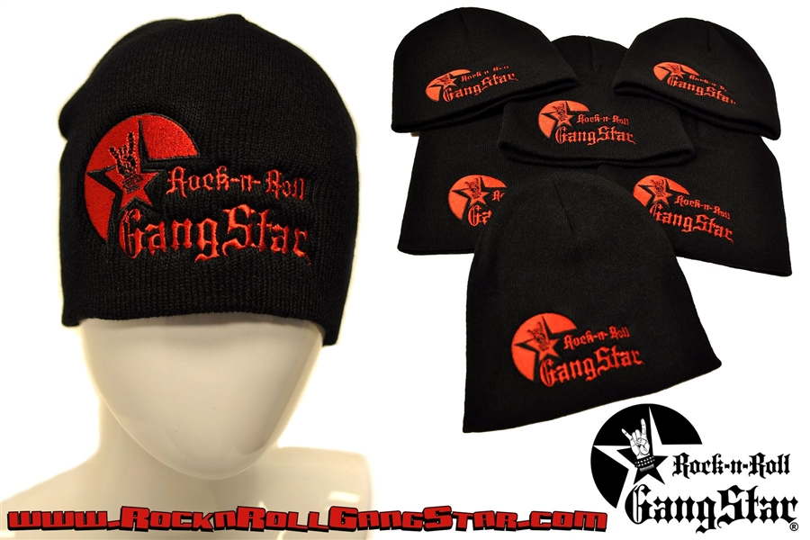 Stretch Beanie Black with large Red Rock n Roll GangStar logo Stocking Cap  Winter Hat Rock ... 6e6b4e6ba2d