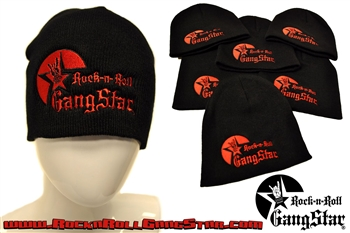 Stretch Beanie Black with large Red Rock n Roll GangStar logo Stocking Cap Winter Hat Rock and Roll Heavy Metal Biker clothing apparel accessories lifestyle Rock n Roll GangStar Apparel