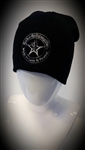 Stretch Beanie Black with Silver Wear It Loud & Proud! logo Stocking Cap Winter Hat Rock and Roll Heavy Metal Biker clothing apparel accessories lifestyle Rock n Roll GangStar Apparel