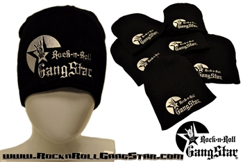 Stretch Beanie Black with large Silver Rock n Roll GangStar logo Stocking Cap Winter Hat Rock and Roll Heavy Metal Biker clothing apparel accessories lifestyle Rock n Roll GangStar Apparel