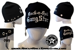 Custom Stretch Beanie with Rock-n-Roll GangStar white lettering sword & rings pendant Rock n Roll Heavy Metal hats accessories