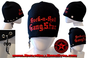 Custom Stretch Beanie with Rock-n-Roll GangStar red lettering sword & rings pendant Rock n Roll Heavy Metal hats accessories