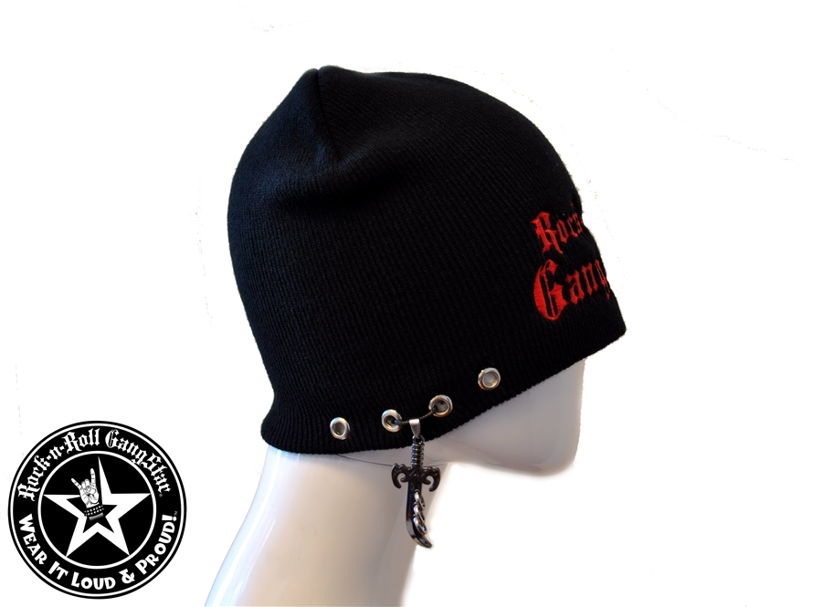 custom stretch beanie with rock n roll gangstar red lettering sword rings pendant rock n roll. Black Bedroom Furniture Sets. Home Design Ideas
