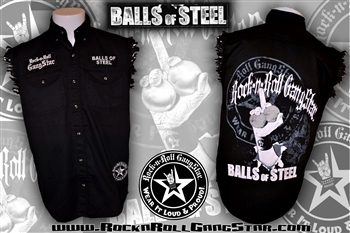 Balls Of Steel denim cut off sleeveless biker shirt Rock n Roll Heavy Metal clothing apparel accessories Rock n Roll GangStar