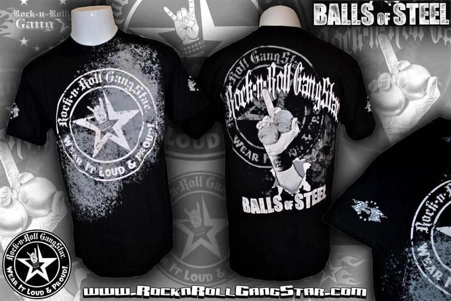 balls of steel mens t shirt black rock n roll heavy metal biker clothing apparel accessories. Black Bedroom Furniture Sets. Home Design Ideas