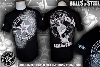 Balls Of Steel Mens T Shirt Black Rock n Roll Heavy Metal Biker clothing apparel accessories lifestyle Rock n Roll GangStar