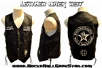 Mens Custom Leather Biker Vest Rock and Roll Heavy Metal clothing accessories